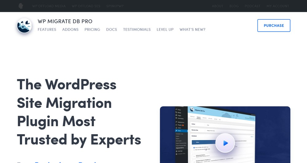 WP Migrate DB Pro homepage