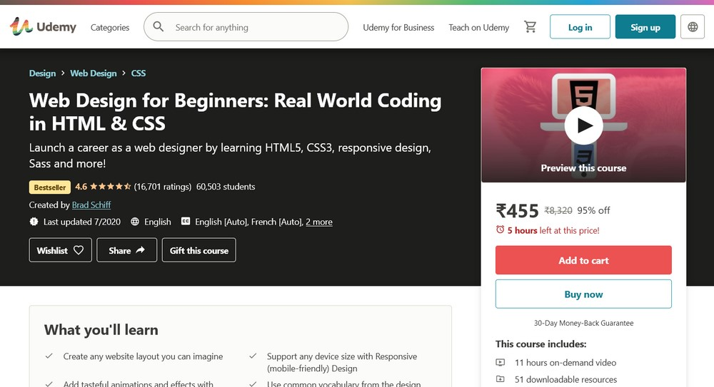 Web Designing for Beginners course at udemy