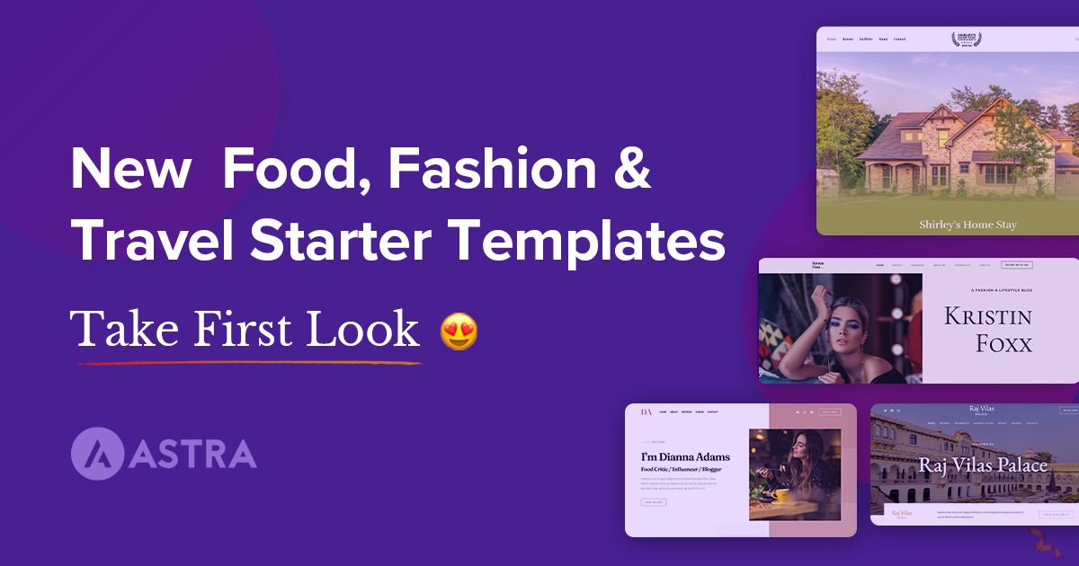 New Food, Fashion and Travel Starter Templates