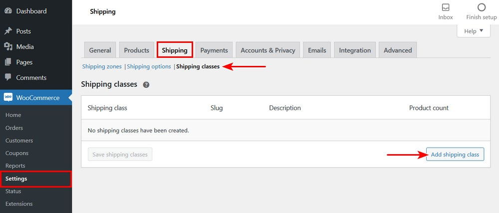 Add shipping classes in WooCommerce