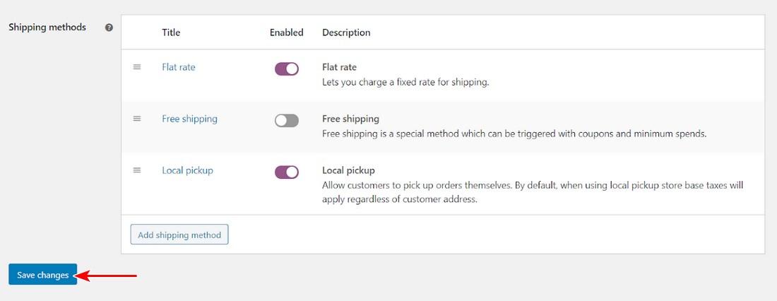 Save WooCommerce shipping methods