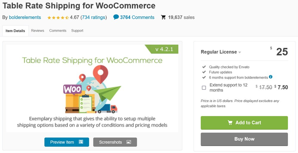 Table Rate Shipping for WooCommerce plugin