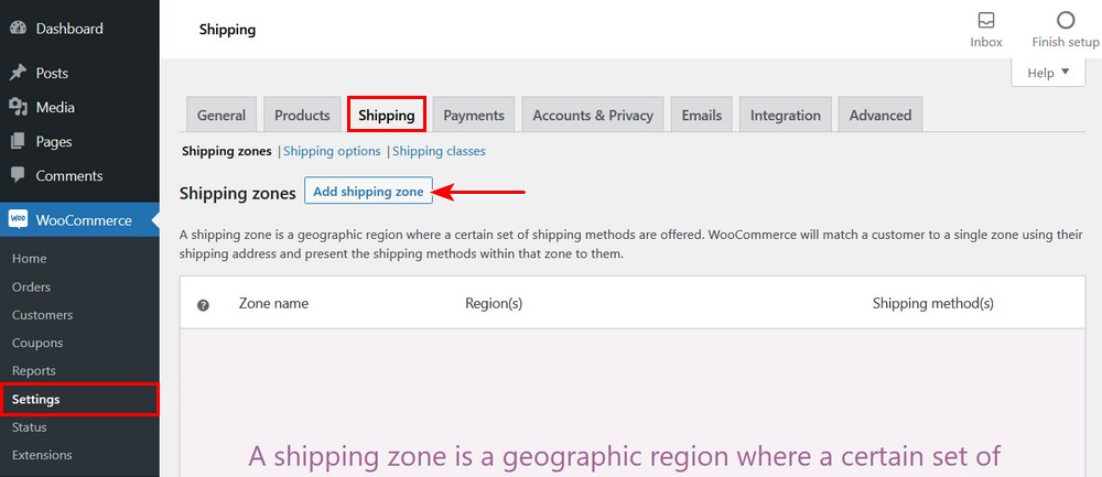 WooCommerce add shipping zones