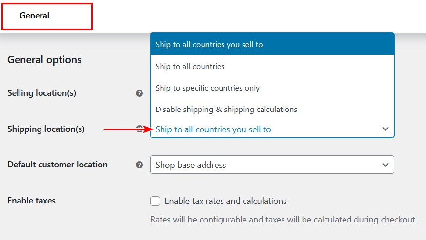 WooCommerce enable shipping options