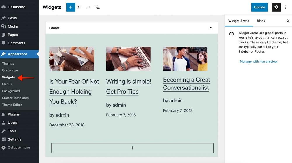 WordPress 5.8 Widget'lar ekranı