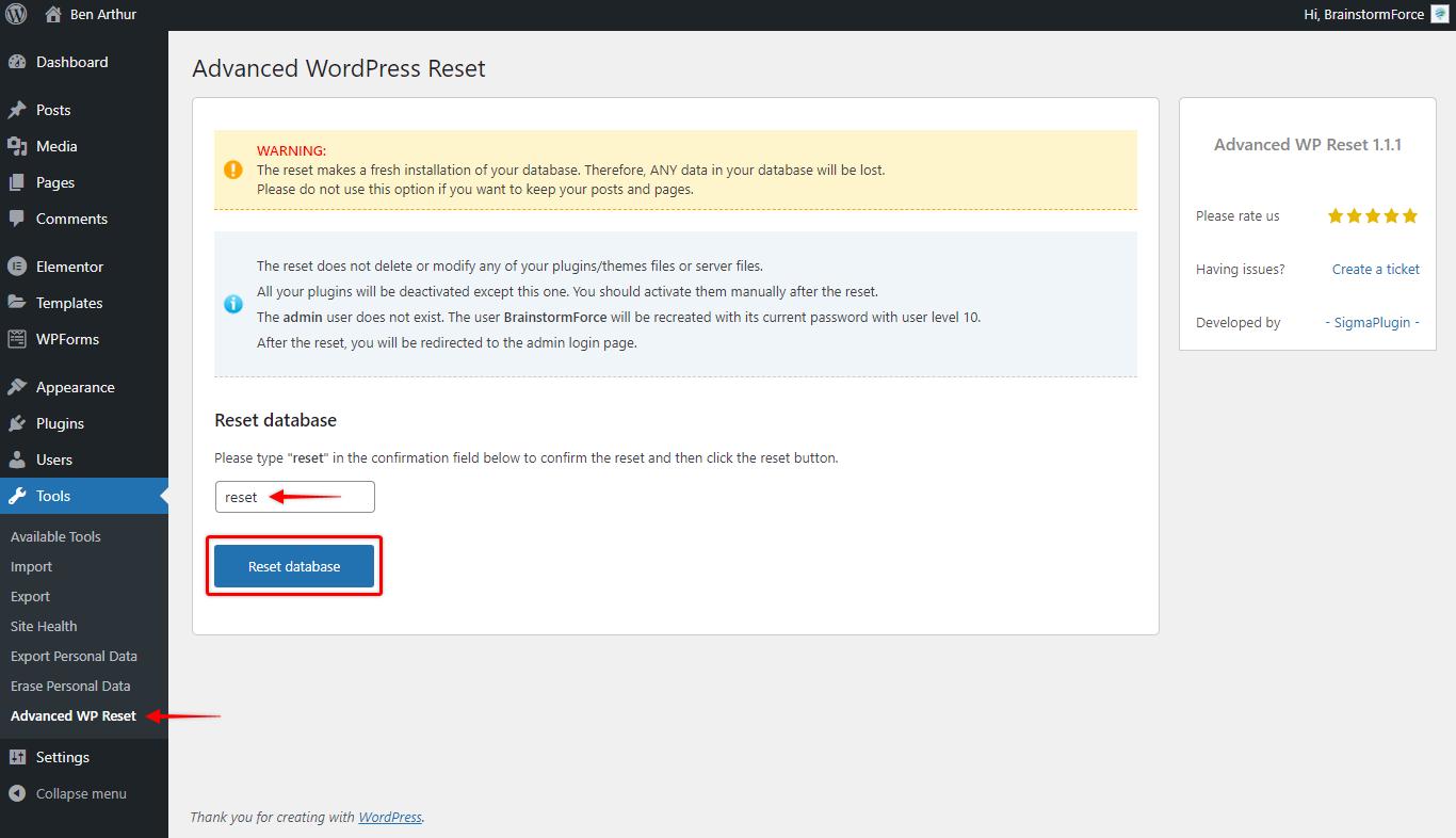 Reset WordPress Installation