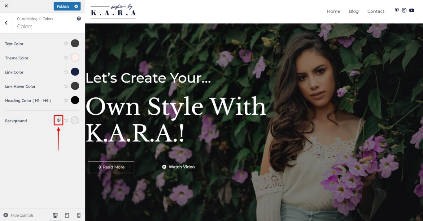 Astra Theme, Responsive Editing Icon